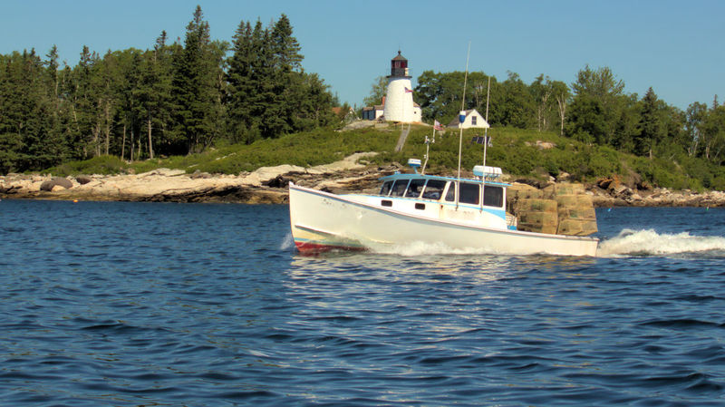 Boothbay Harbor Maine Burnt Island Lighthous Day Lobster Boat Mode Of Transport Nature Nautical Vessel No People Outdoors Sailing Sea Sky Transportation Tree Water