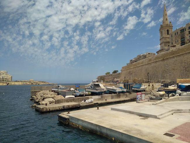 Church Malta Mediterranean  Valletta European Capital Of Culture 2018 Architecture Belief Building Exterior Cloud - Sky History Port Religion Sky Steeple Travel Travel Destinations Valletta Water