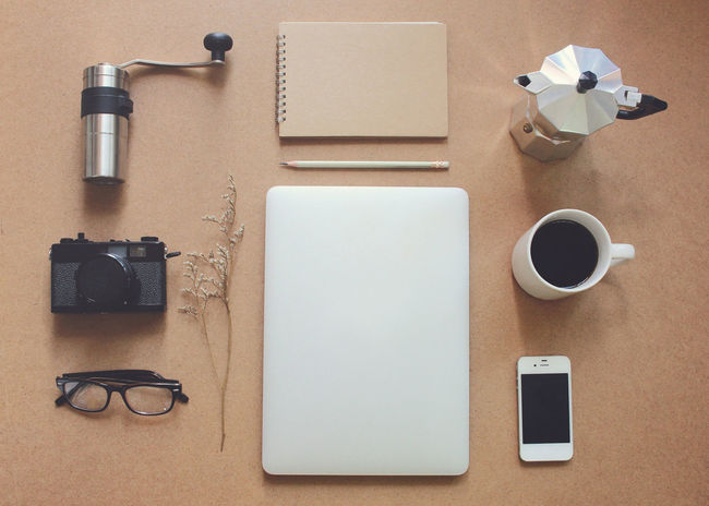 Camera Coffee - Drink Coffee Cup Coffee Grinder Diary Directly Above Flat Lay Fountain Pen Indoors  Laptop Moka Pot No People Object Office Paper Table Technology Top View Writing Instrument