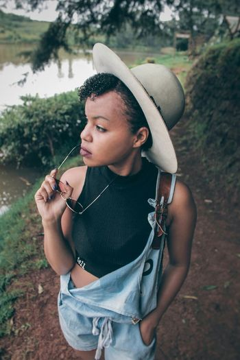 In The Woods. Fresh On Eyeem  Fresh On Market 2018 EyeEm Best Shots Eyemphotography Eye4photography  Canon Africa Young Women Portrait Standing Tree Fashion Women Close-up Casual Clothing