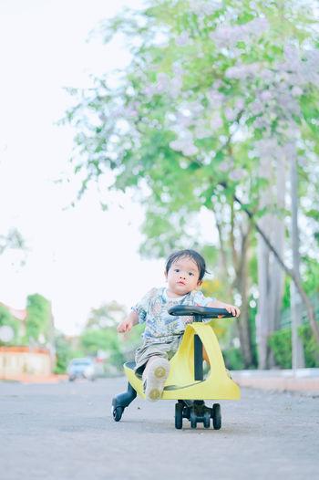 Portrait of cute boy against trees