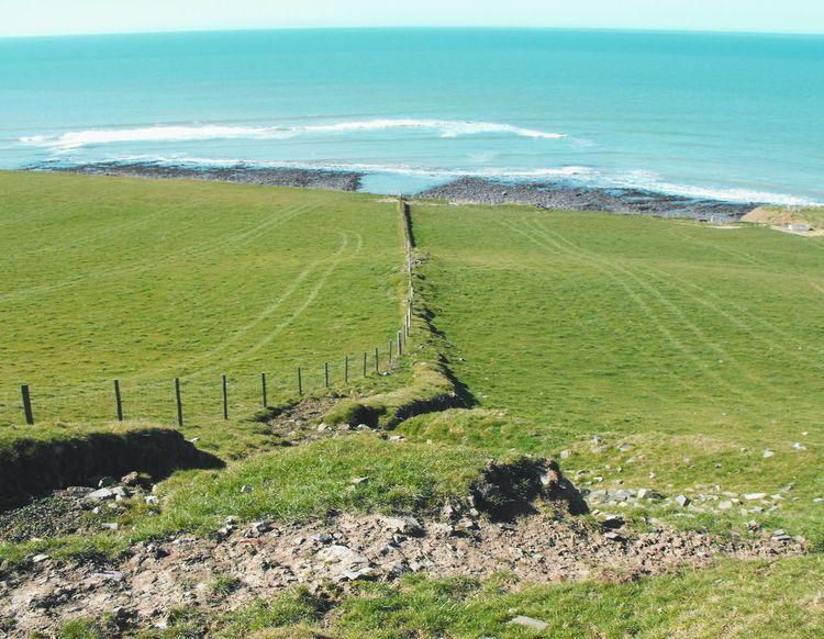 Into the Sea ... Seascape Waves Shore Grass Green And Blue Seaside Wales Tracks Field Irish Sea Vista берег Море