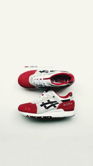 """Asics GelLyte III - """"Koi"""" Shoes Sneakers Asics Afew Koi Gellyte Gellyte3 Asics Studio Shot White Background Indoors  Still Life Red Copy Space No People First Eyeem Photo"""
