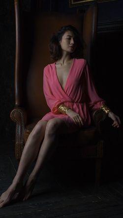 Portrait Beautiful Woman Sitting Women Full Length Beauty Females Looking At Camera Chair