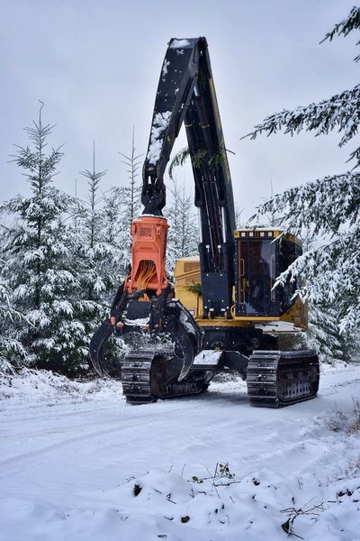 Winter Snow Cold Temperature Weather Nature Tree Machinery Outdoors Construction Machinery Day Sky No People Office View Weather Logging Roads Snow Covered Logging Equipment Equipment Logging Mountain Snow ❄ Work Road Beauty In Nature Machinery