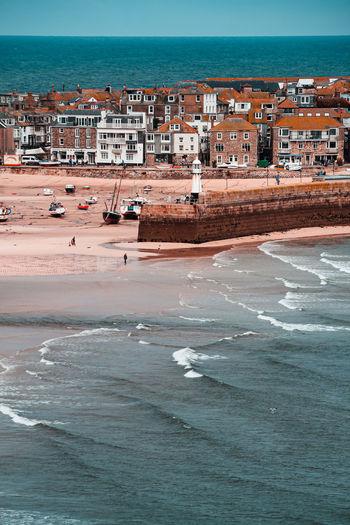 Aerial view of buildings on beach