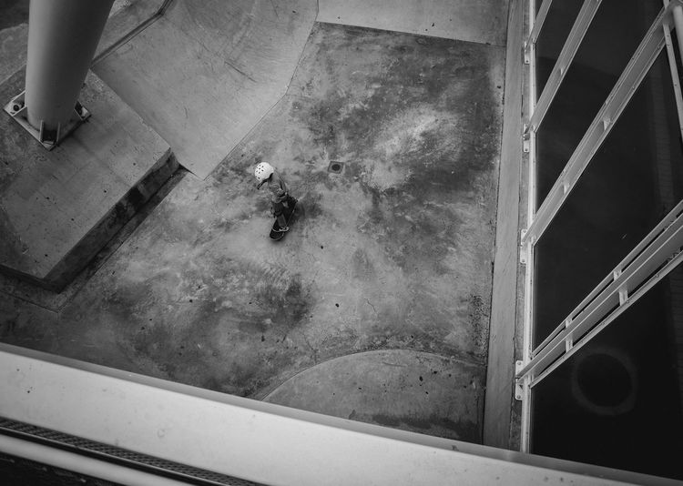 High Angle View Of Skateboarding Boy