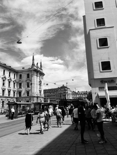 I❤️TheMoment Building Exterior Architecture Built Structure City Sky Real People Street Large Group Of People Men Walking Women Cloud - Sky Road Outdoors Day Full Length Mammal Adult People Streetphotography Blackandwhite Scenics in the beautiful city of Munich 😍❤️