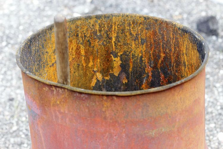 rusted old steel drum for a firepit Rust Steel Steel Drum Rusted Metal  Metal Rusty Rusty Metal Firepit Outdoors Close-up Can