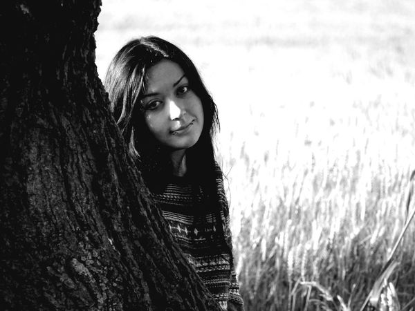 Portrait Only Women One Person Looking At Camera Long Hair Beautiful Woman Young Adult Nature Outdoors Beauty Smiling Rural Scene Happiness Blackandwhite Photography TheGreatOutdoors The Great Outdoors - 2017 EyeEm Awards The Portraitist - 2017 EyeEm Awards EyeEm Getty Collection This Week On Eyeem Eye4photography  Tranquility EyeEmNewHere