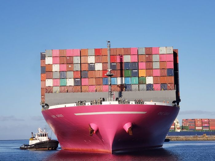 Container ship in sea against clear sky
