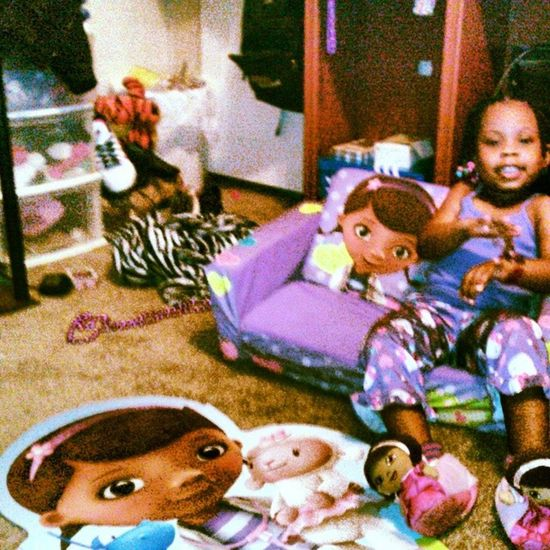 Just my lil twin and I for the night and i realize she got Docmcstuffins everything. Ill forever make sure this girl never goes without. Justlikeme Justkarma Daddysgirl singledaddy