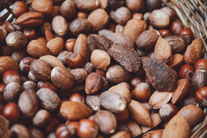 Abundance Backgrounds Basket Brown Close-up Day Detail Food Freshness Full Frame Heap Large Group Of Objects Natural Pattern Nature No People Nuts Selective Focus Still Life