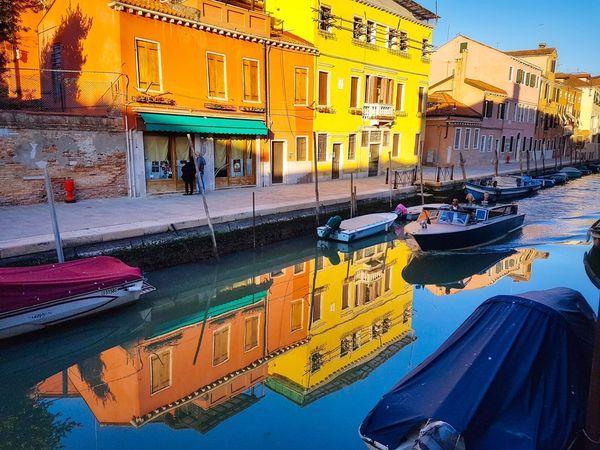 Venezia Veneto Italy Rio San Girolamo Canals Water Reflections Sunset Light Building Exteriors Orange Yellow Motorboats Boat Poles Paint The Town Yellow