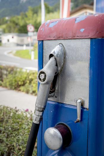 Close-up of vintage gasoline pump