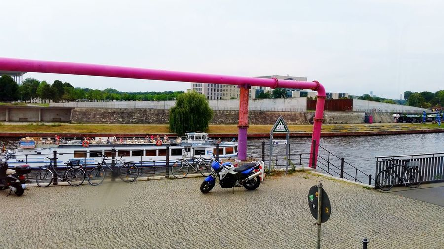 Day Outdoors No People Sky Water Water Boat Berlin Discover Berlin Pink Pipes