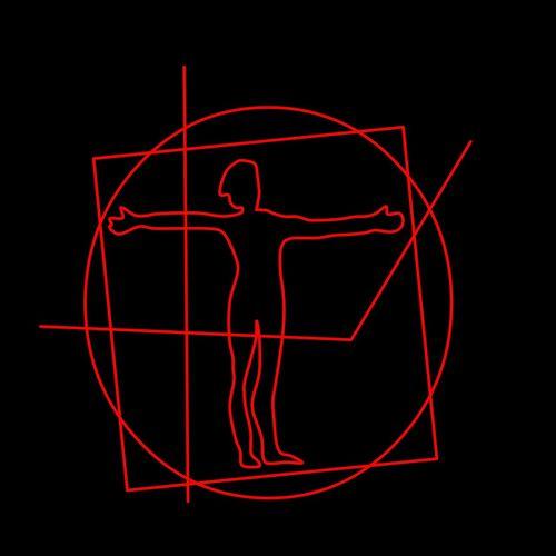 Homo Vitruvianus Da Vinci Imitation Leonardo Da Vinci Vitruvian Man / Sketch Draw Man Circle Lines Lines, Shapes And Curves