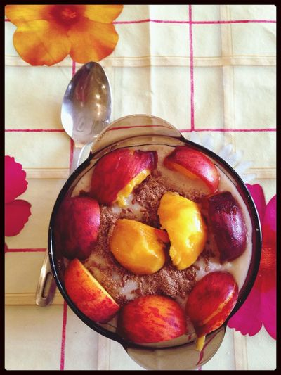 Мой завтрак) овсянка +корица+семена льна+2маленьких персика. Ням) правильное питание худеем овсяночка