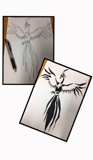 this is what happens when I'm bored at work. a sketch of an image I saw on the Net Drawing Sketch Tribal Phoenix