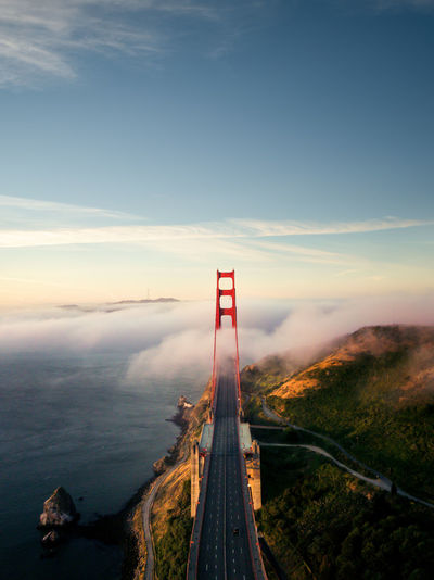 High angle view of golden gate bridge against sky