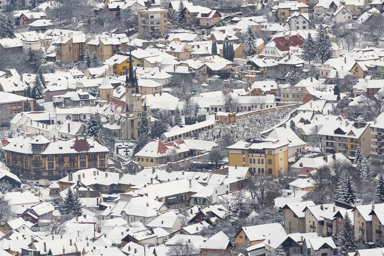 The beauty of winter on the snowy mountains. brasov city, romania