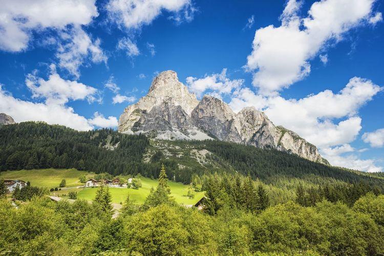Low angle view of mountains at corvara