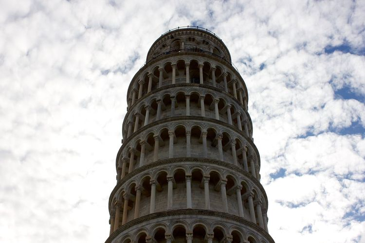 leaning tower of pisa Architecture Architecture And Art Belief Building Building Exterior Built Structure Cloud - Sky Day Gothic Style History Leaning Tower Of Pisa Low Angle View Nature No People Outdoors Place Of Worship Religion Sky Spirituality The Past Tourism Tower Travel Travel Destinations