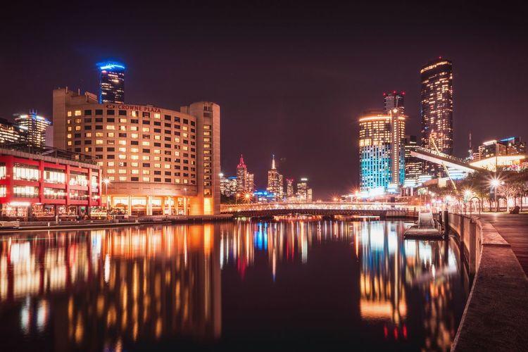 Reflection TheCity Tealandorange EyeEm Selects City Cityscape Urban Skyline Illuminated Water Skyscraper Modern Nightlife Downtown District Entertainment