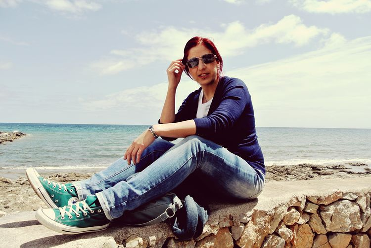 EyeEm Selects Only Women One Person One Woman Only Sea Beach Adult Sitting Mature Adult Adults Only One Mature Woman Only Full Length Sunglasses Relaxation Casual Clothing Women Horizon Over Water Sky Vacations People Outdoors Mediterranean  Mallorca