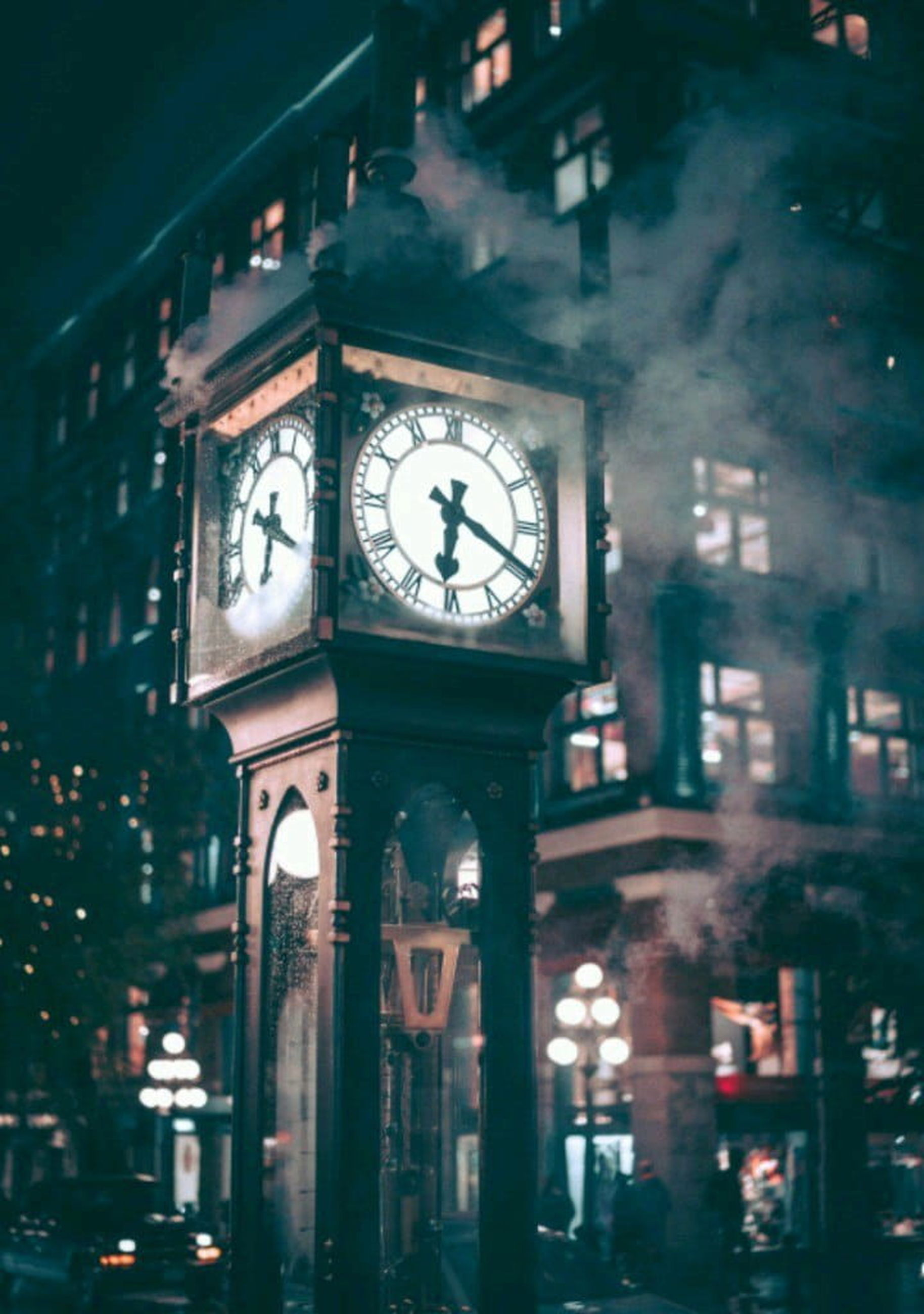 clock, time, architecture, building exterior, built structure, clock face, illuminated, night, building, no people, instrument of time, roman, clock tower, city, clock hand, outdoors, selective focus, accuracy, minute hand