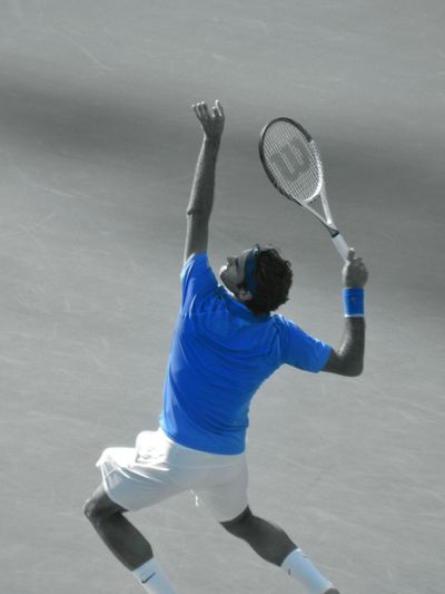 Federer shame I cut off his feet. Long zoom from top tare of Grandstand using Lumix FZ70. Selective Color Drunk Photography from US Open 2013 😎