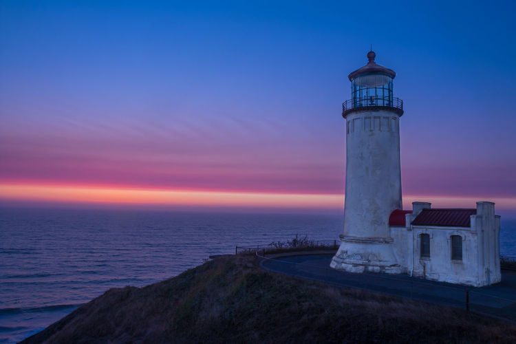 Cape Disappointment Sunset Blue Cliff Lighthouse, Sunset, Ocean Orange Color Sky Sunset Water