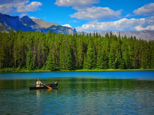 Alberta, Canada Beauty In Nature Canada Canoe Paddling Cloud - Sky Day Lake Men Mountain Mountain Range Nature Oar One Person Outdoors People Real People Scenics Side View Sitting Sky Tranquil Scene Tranquility Tree Water Waterfront