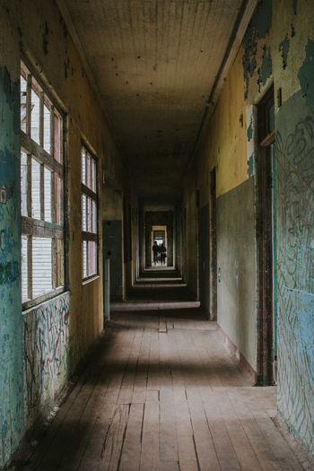 Empty Corridor In Abandoned Building