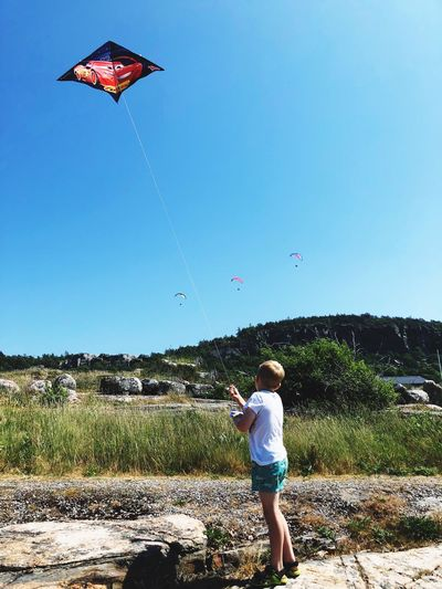Fly A Kite Sky Real People Leisure Activity Nature Day Clear Sky Land Childhood