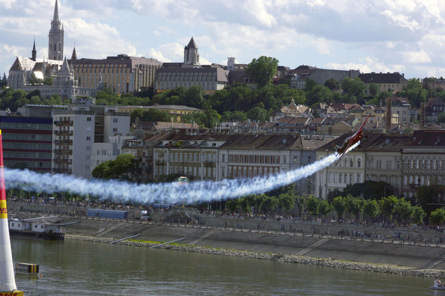 Red Bull Air Race Budapest 2017 Air Race Airplane Architecture Building Exterior Built Structure City Cityscape Day Flight Nature No People Outdoors River Sky Travel Destinations Tree Water Waterfront