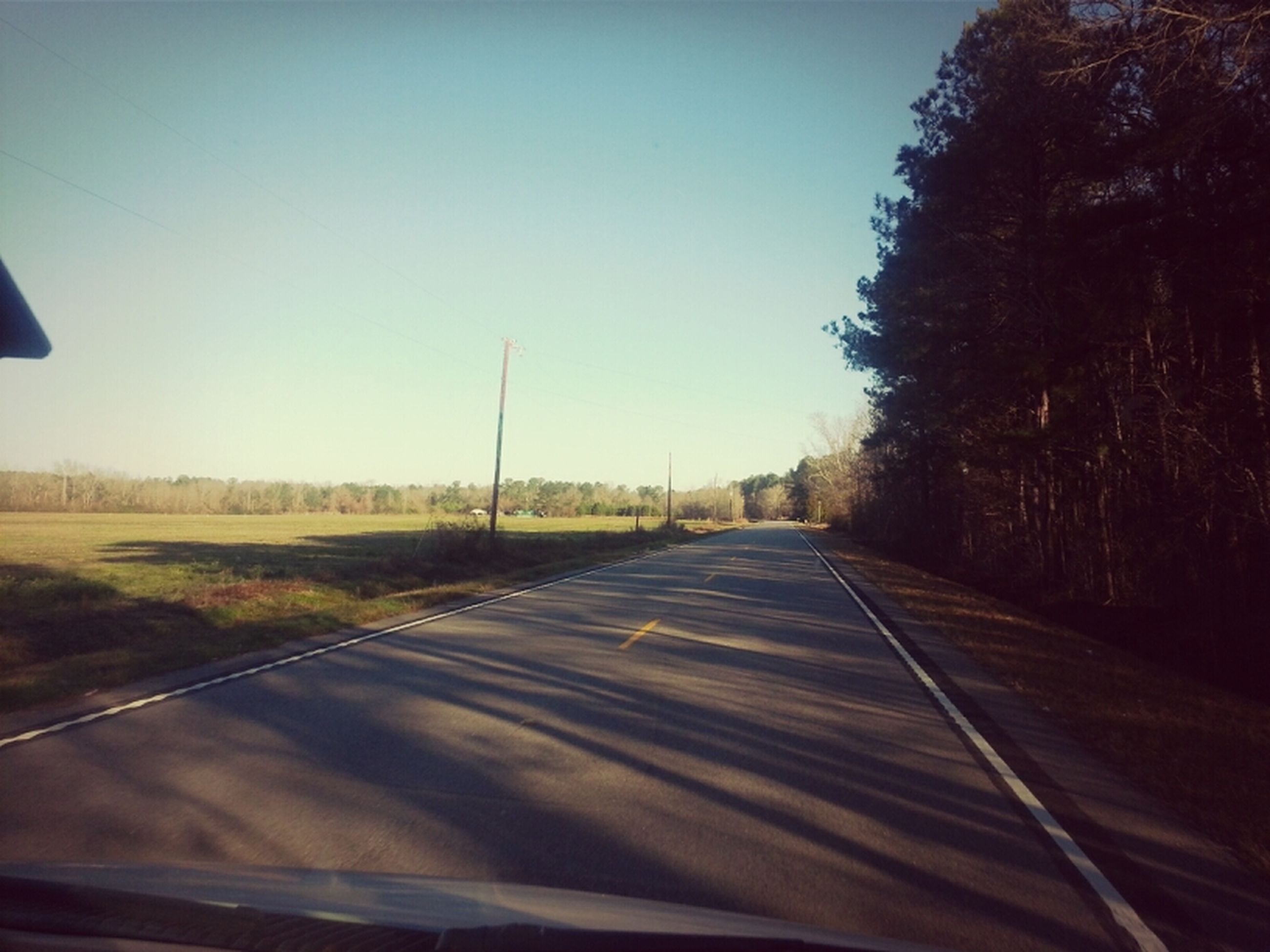 the way forward, clear sky, diminishing perspective, road, transportation, vanishing point, copy space, empty, tree, country road, tranquil scene, tranquility, landscape, long, field, empty road, road marking, nature, sky, blue