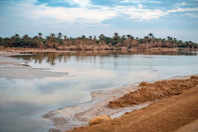 lakes of salts in siwa oasis , egypt Egypt Siwa Oasis Travel Beauty In Nature Cloud - Sky Nature Oasis Reflection Scenics Scenics - Nature Sky Sunset Tourism Tranquil Scene Water