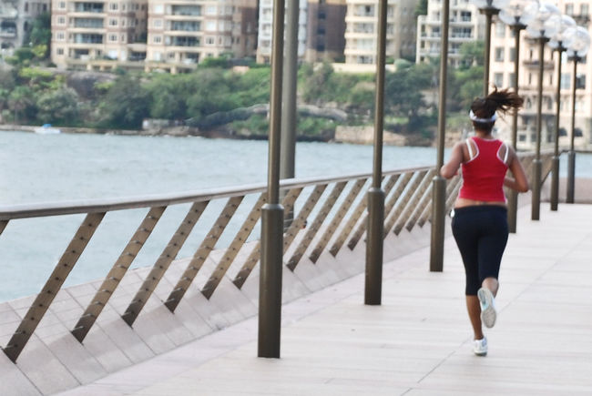 Adult Adults Only Boulevard Cardio Cardio Day Day Fitness One Person Outdoors People Real People Rear View Red Running Sea Women Young Adult