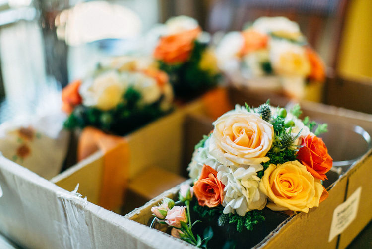 Close-up of bouquet in cardboard box