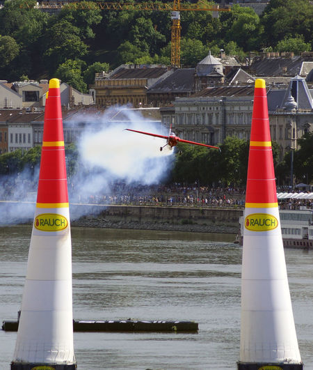Red Bull Air Race Budapest 2017 Air Race Aircraft Airplane Architecture Building Exterior Built Structure City Communication Cordon Tape Day Flight Guidance No People Outdoors Sky Text Traffic Cone Tree Water