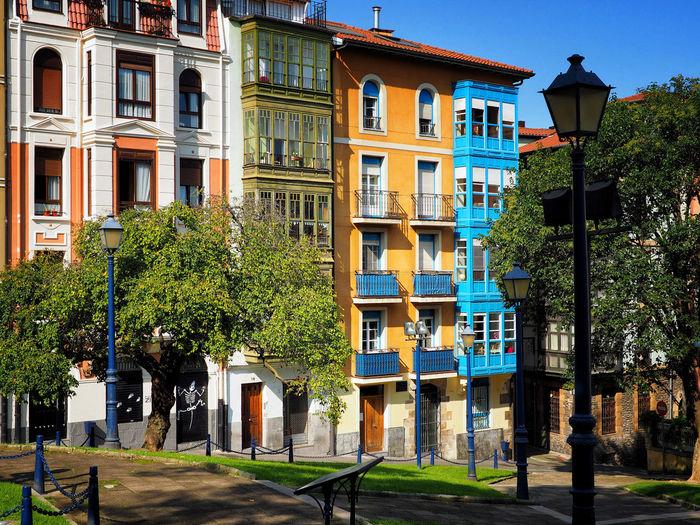 Buildings against blue sky