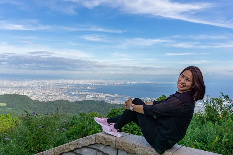 Amazing view with beautiful women. Happy Japan Mountain View Relaxing Travel Adult Beauty In Nature Cloud - Sky Happiness Kobe Leisure Activity Lifestyles Looking At Camera Nature Non-urban Scene One Person Outdoors Scenics - Nature Sitting Sky Smile Smiling Women Young Adult Young Women