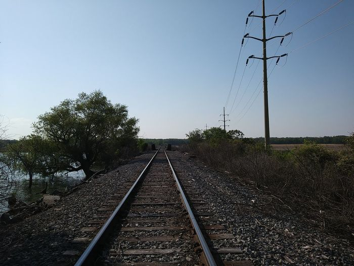 Tree Parallel Electricity  Cable Railroad Track Electricity Pylon Rail Transportation Diminishing Perspective Sky
