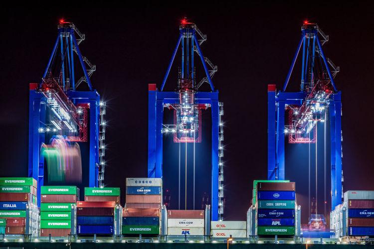 Crane by night