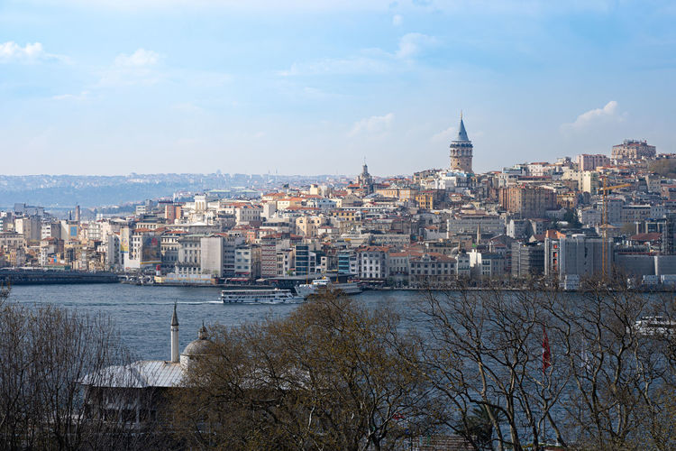 Istanbul cityscape in turkey with galata tower medieval landmark, turkey
