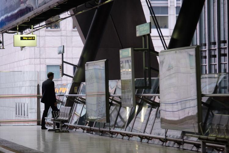 Businessman walking in modern building
