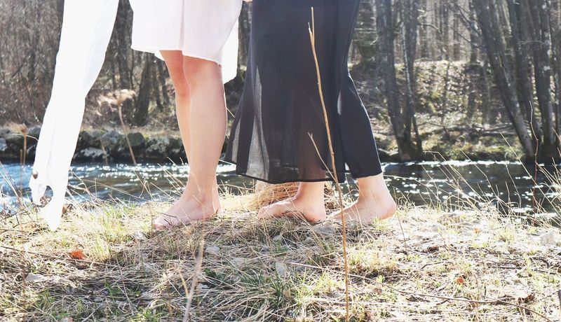 In The Wood Wood Green Grass Grass Legs Feet Black And White Dress Photography