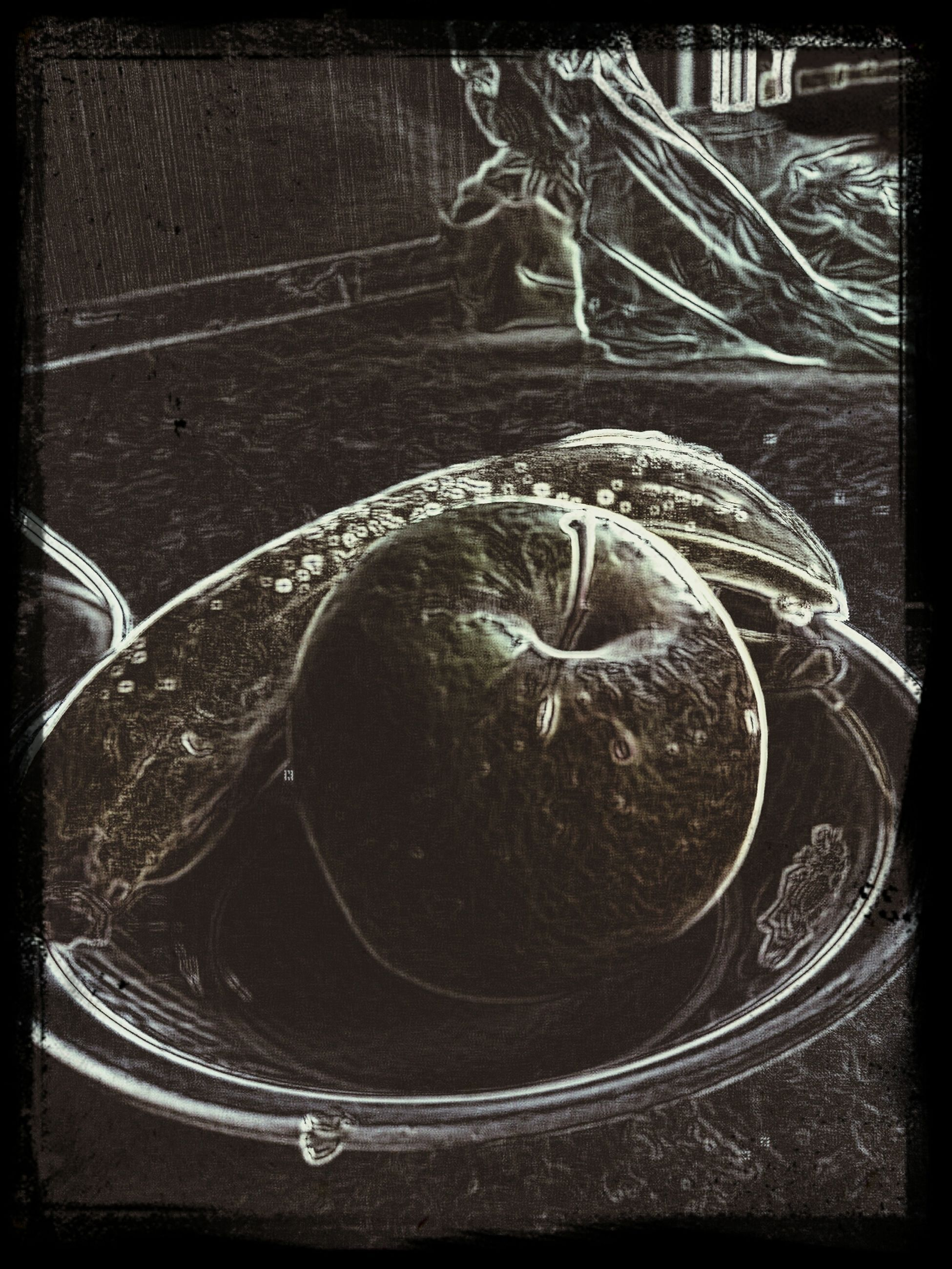 transfer print, auto post production filter, metal, close-up, indoors, circle, metallic, no people, high angle view, pattern, old, built structure, day, design, rusty, still life, shape, abandoned, connection
