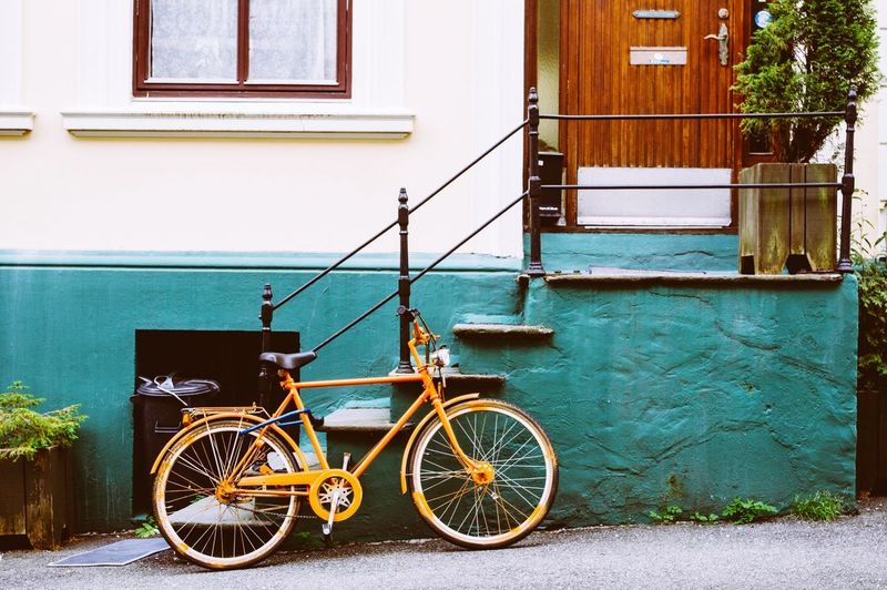 Bicycle Parked By Steps Of House